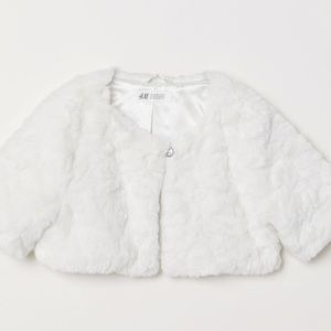 NEW NWT off-white faux Fur Bolero